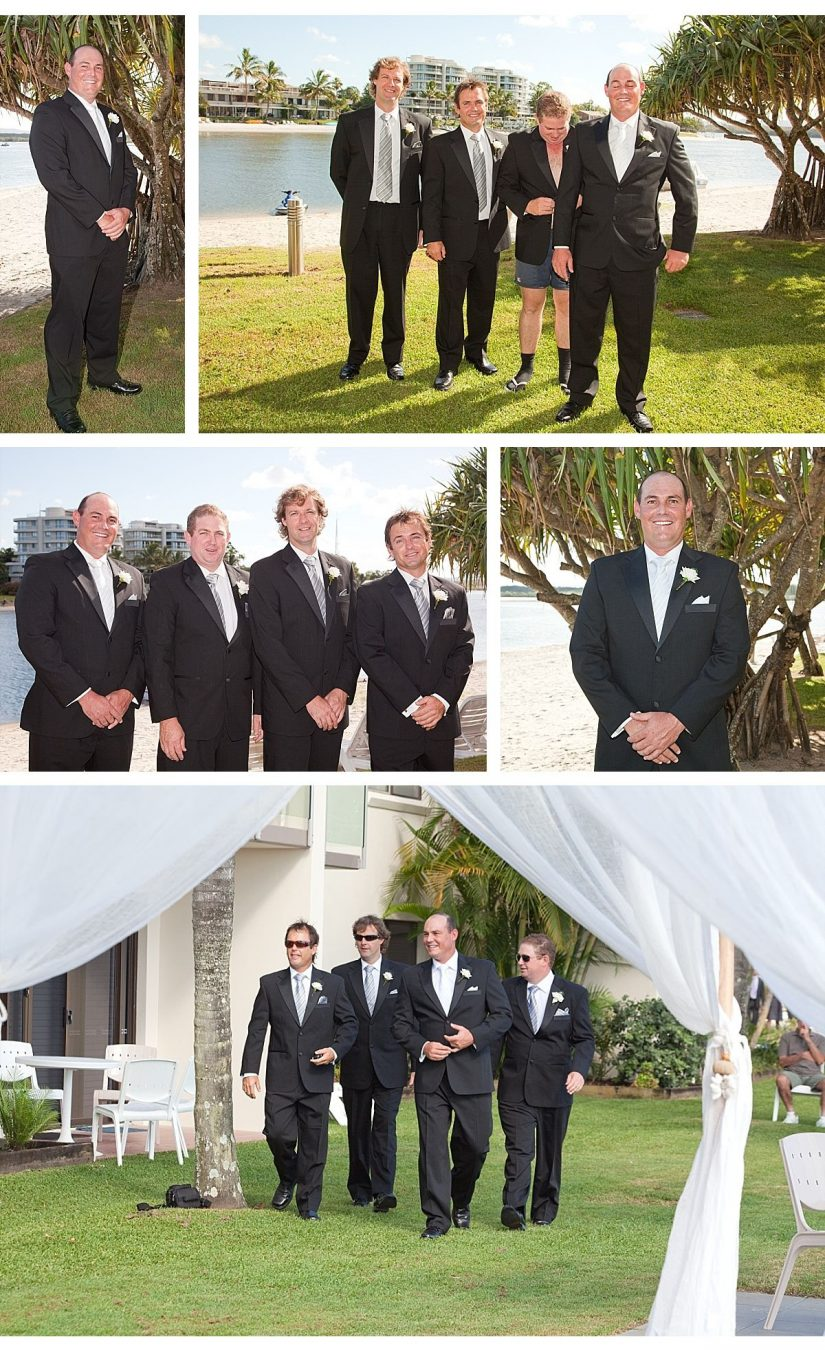 image collage of groom and groomsmen at Noosa River Wedding